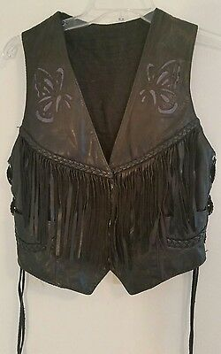 Leather vest women's black with blue butterfly motorcycle biker Harley size S