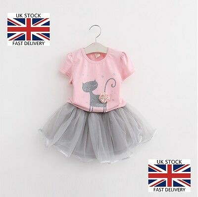 Gorgeous Baby Girls Trendy Casual 'Camilla The Cat' Holiday Tutu and T-Shirt Set