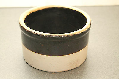 Vintage Stoneware Pottery Crock Primitive Storage Container Two Toned Small