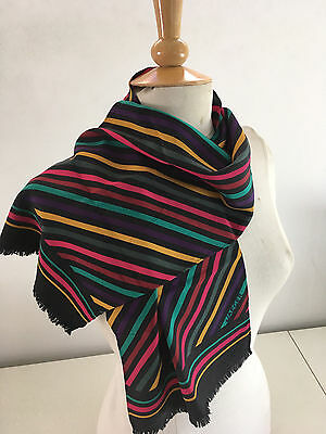 Jaeger Striking Colourful Striped Long Hand Rolled Vtg Silk Scarf