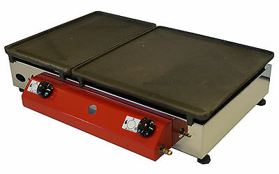 LPG Gas Griddle  Cast Iron Hot Plate 1/3 Ribbed ,2/3 Smooth  65x40  cm Large