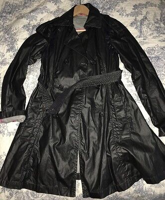 DKNY LADIES BLACK PVC COATED RAINCOAT SIZE S Uk 8