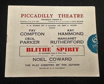 Scarce 1941 Margaret Rutherford Blythe Spirit Piccadilly Theatre Programme