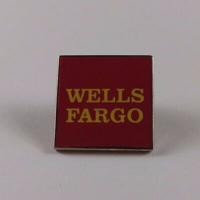 """Vintage WELLS FARGO Red Enameled Gold Tone Pin Back Advertising Collectible 1"""""""