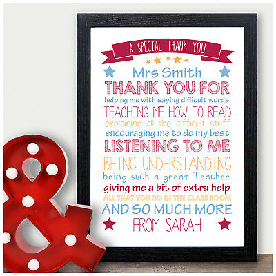 Personalised Teacher Gifts Thank You School End Of Term Assistant Nursery Child