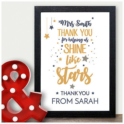 Thank You Teacher Star Gift PERSONALISED Nursery Childminder End of Term Gifts