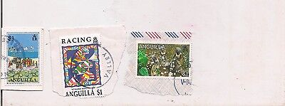 3 ANGUILLA stamps on paper.