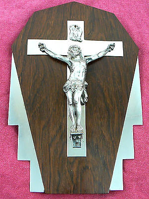VINTAGE ART DECO  EBONY  METAL  Cross catholic religion CRUCIFIX JESUS CHRIST