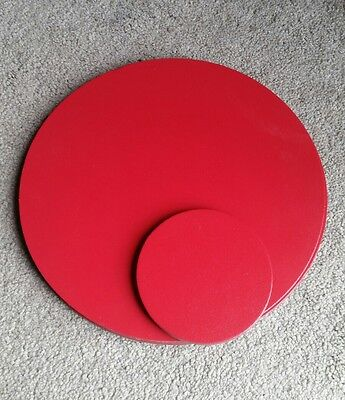 6 faux red leather round placemats with 4 round coasters