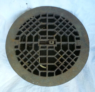 """Antique Cast Iron Round Grate Heat Wall Criss Cross Lattice SALVAGE 9-3/8"""" Out"""