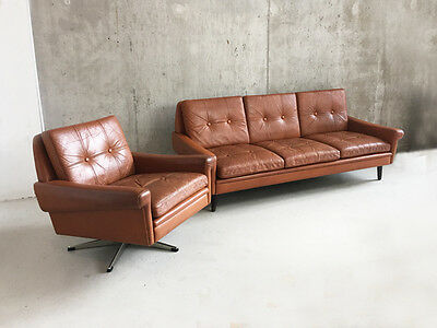 1970's mid century Danish Skipper 3 seater sofa and matching swivel armchair