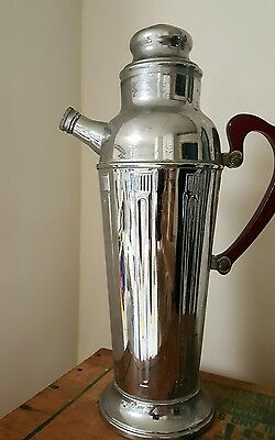 Vintage Stainless Chrome Pitcher Red Bakelite Handle Cocktail Martini Shaker