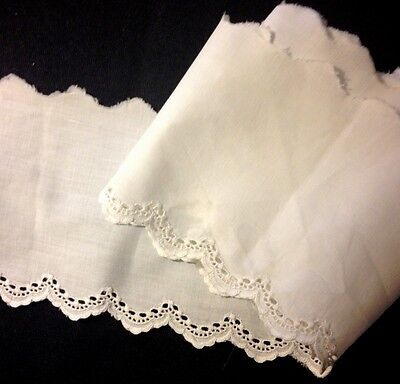 Old Vintage Salvage of Border White Broderie Anglaise Lace Trim Edging Buttonhol