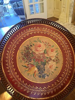 Antique Red Tole Hand Painted Floral Tray