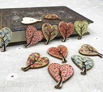25X Mix Heart-shaped Tree Wooden Sewing buttons scrapbooking craft DIY 30mm
