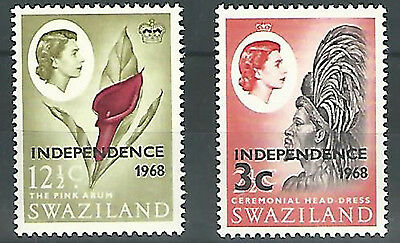 (7421) Swaziland 1962/66, QE def's, Independence  3c, 12 1/2c  inv. watermark