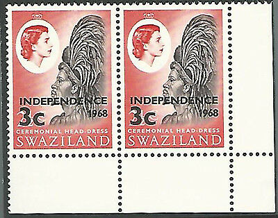 (7422) Swaziland 1962/66, QE def's, Independence  3c, inv. watermark