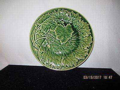 "Vintage! Majolica Green Cabbage Salad Display Plate 8 1/2"" -BEAUTIFUL!"