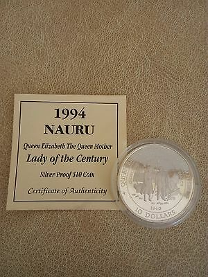 1994 Nauru Lady of the Century $10 Silver Proof Coin - New in capsule