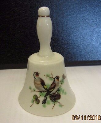 Hand Painted Vintage Porcelain BELL with Singing BIRDS Design -Marked 185