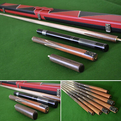 "Handmade 4 Piece 58.5"" Snooker Cue Set with Black & Red Case and Extensions"