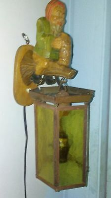 Vintage Hand carved wooden troll w/ lantern wall light