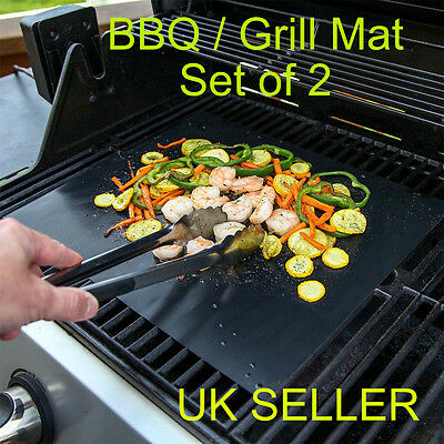 2 x Teflon Non-stick Reusable BBQ Grill Mats Sheet Baking Mat Cooking Barbecue