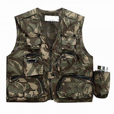 Camouflage Outdoor Quick Drying fishing vest Pockets Photography Jacket Vest M