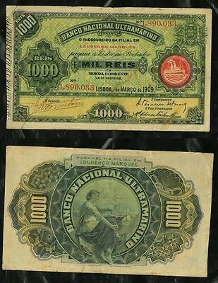 Mozambique Portugal- 1000 Reis -Dt 1.03.1909.Pick 33 Seal type III. S/N 1890033