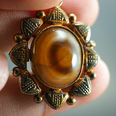 Antique Seeing Eye Agate Near Eastern Gold Plated Shield Pattern Pendant