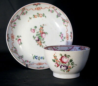 Antique Circa 1790-1800 New Hall Porcelain Handpainted Teabowl & Saucer