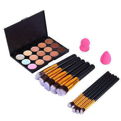 10PCS Makeup Brushes+15 Colors Concealer+2PCS Powder Puff Cosmetic Brushes Tools