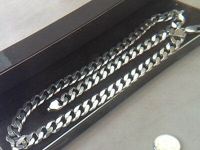 """Men's Very Heavy Curb Necklace Sterling Silver 92 Grams !! 22"""" Chain"""