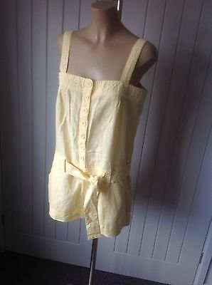 New Look Ladies All In One Shorts Playsuit Sz UK 14, Linen,Cotton Summer Beach