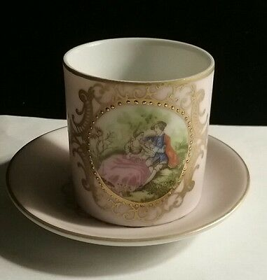 Vintage Hand Painted Lefton China Tea Cup Saucer Pink Gold Victotian Small