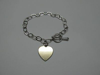 "Pretty 925 Sterling Silver 7 1/4"" Toggle Bracelet with Gold Washed Heart Charm"