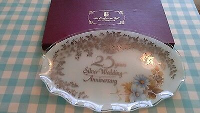 vintage boxed glass 25th wedding anniversary plate