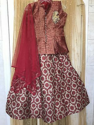 Indian Bollywood Lehngha Choli - Crop Top And Skirt Ethnic Suit Party Wear