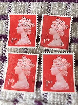 100 x Red 1st Class Unfranked Postage Stamps Off Paper Excellent Quality