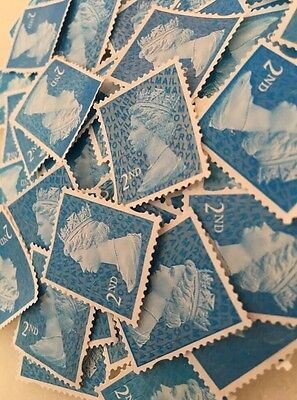100 x Blue 2nd Class Unfranked Postage Stamps Off Paper Excellent Quality