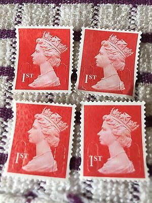200 x Red 1st Class Unfranked Postage Stamps Off Paper Excellent Quality