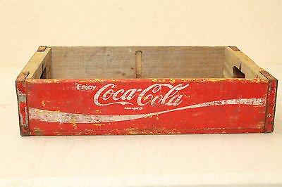 Coca Cola Bottle Crate Vintage Wooden Caddy Carrier Advertising Nice No Slots (A