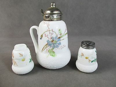 c1885 Challinor ACORN Syrup Pitcher & Shakers~~Opal w/Bachelor Button Decor