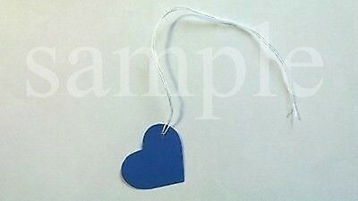 "50 Jewelry Gift Party Hang Small Heart Tags with White String 1"" x 1"" - Blue"