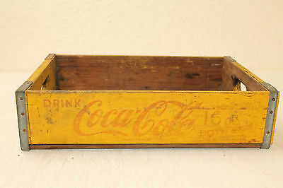 Coca Cola Bottle Crate Vintage Wooden Caddy Carrier Advertising No Slot Yellow