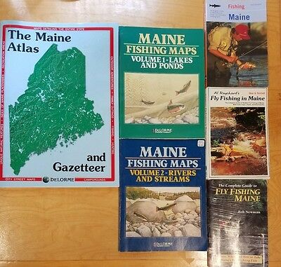 Maine Fishing books and maps, Fly fishing books plus New DeLorme Gazeteer