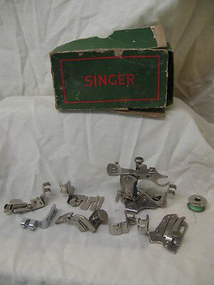 Vintage Singer Sewing Machine Accessories Kit.feet/stitcher/hemmer + Others