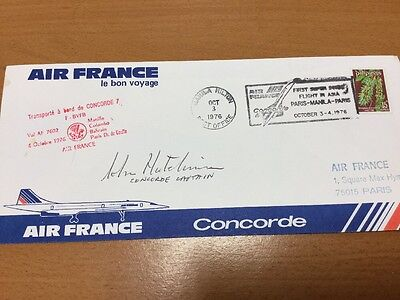 1976 Concorde Air France Flown Cover Signed By Captain John Hutchinson