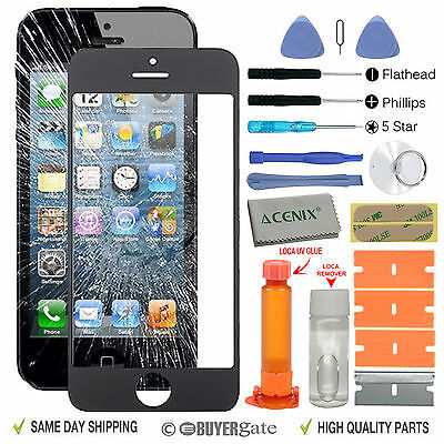 iPhone 5s 5c 5 Genuine Front Glass Screen Replacement Repair Kit Black+LOCA glue