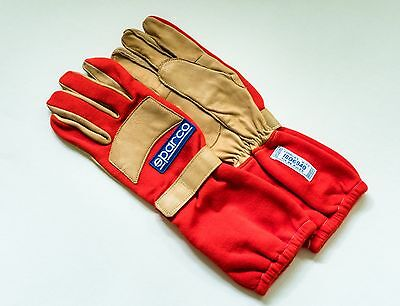 Sparco Super Pro tan/red leather/nomex racing gloves - LIKE NEW